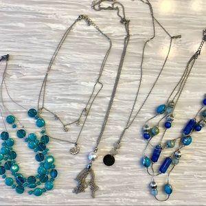 5 Blue and Silver Necklaces